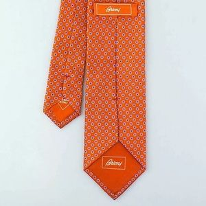 Brioni Accessories - Brioni men's silk neck tie orange made in Italy